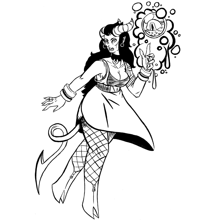 Roísín, Tiefling Sorceror Tabletop Character Commissions